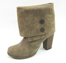 Muk Luks Taupe Brown Embossed Ankle Boots 9 M Chris Women's Bootie High Heel - $19.79