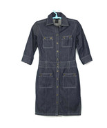 Express Womens Shirt Dress Size 5 6 Jean Denim Button Pockets - $29.65