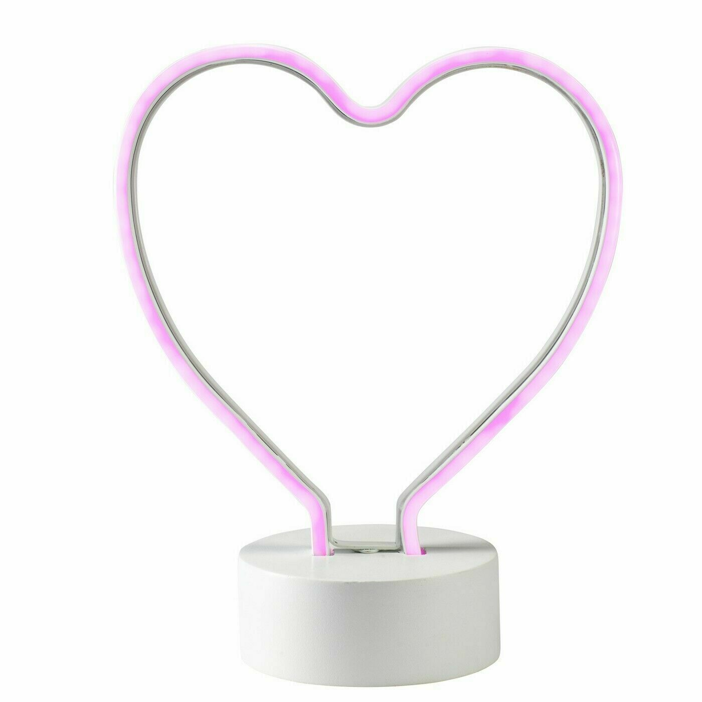 Spritz Faux-Neon LED Heart Sign Tabletop Room Decor Battery Operated Heart Pink