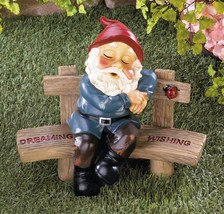 DREAMING and WISHING GNOME Statue with Lucky Ladybug - $29.97