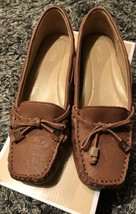 Michael Kors Amber Moc Flats Leather Upper Rubber Outsole Luggage  Loafe... - $89.99
