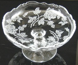 Rose Etch No. 515, Low Footed, Waverly, Comport, made by A. H. Heisey - $30.00
