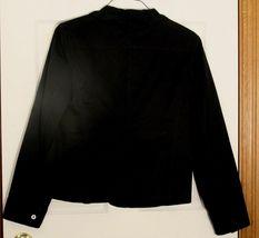Talbots Ruffle Cotton Tailored Blazer Womens 12 Classic Grace Fit Navy Blue  image 5