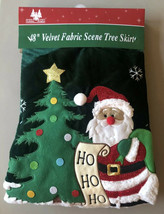 "Holiday Brights 48"" Velvet Fabric Scene Tree Skirt Christmas Holiday San... - $30.70"