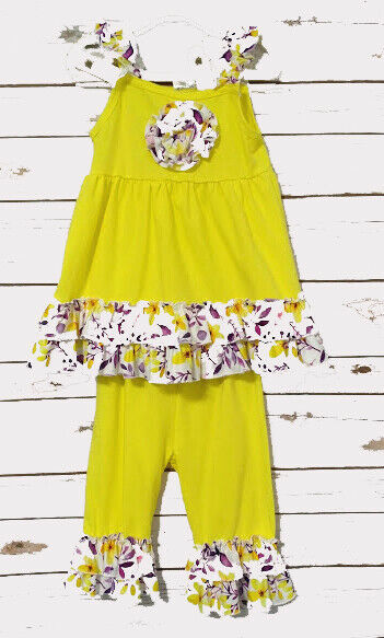 Baby girl yellow flowered outfit