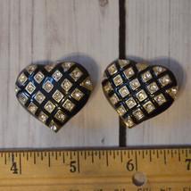 vintage black enamel rhinestone heart shape earrings gold tone - $9.89