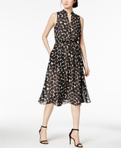 $119  Anne Klein Drawstring A-Line Dress Oyster Shell Black Combo 6 - $83.05