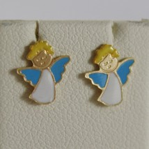 18K YELLOW GOLD CHILD ANGEL ANGELS MINI EARRINGS, GLAZED, FLAT, MADE IN ITALY image 1
