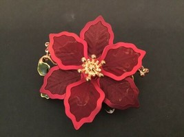 Beautiful Vintage Kenneth Cole Red Poinsettia Flower Christmas Brooch - $13.33