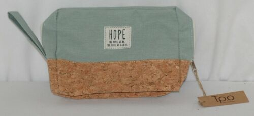 TPO Brand MP0005MT Hope Tan Cork Seafoam Green Canvas Zipper Travel Makeup Pouch