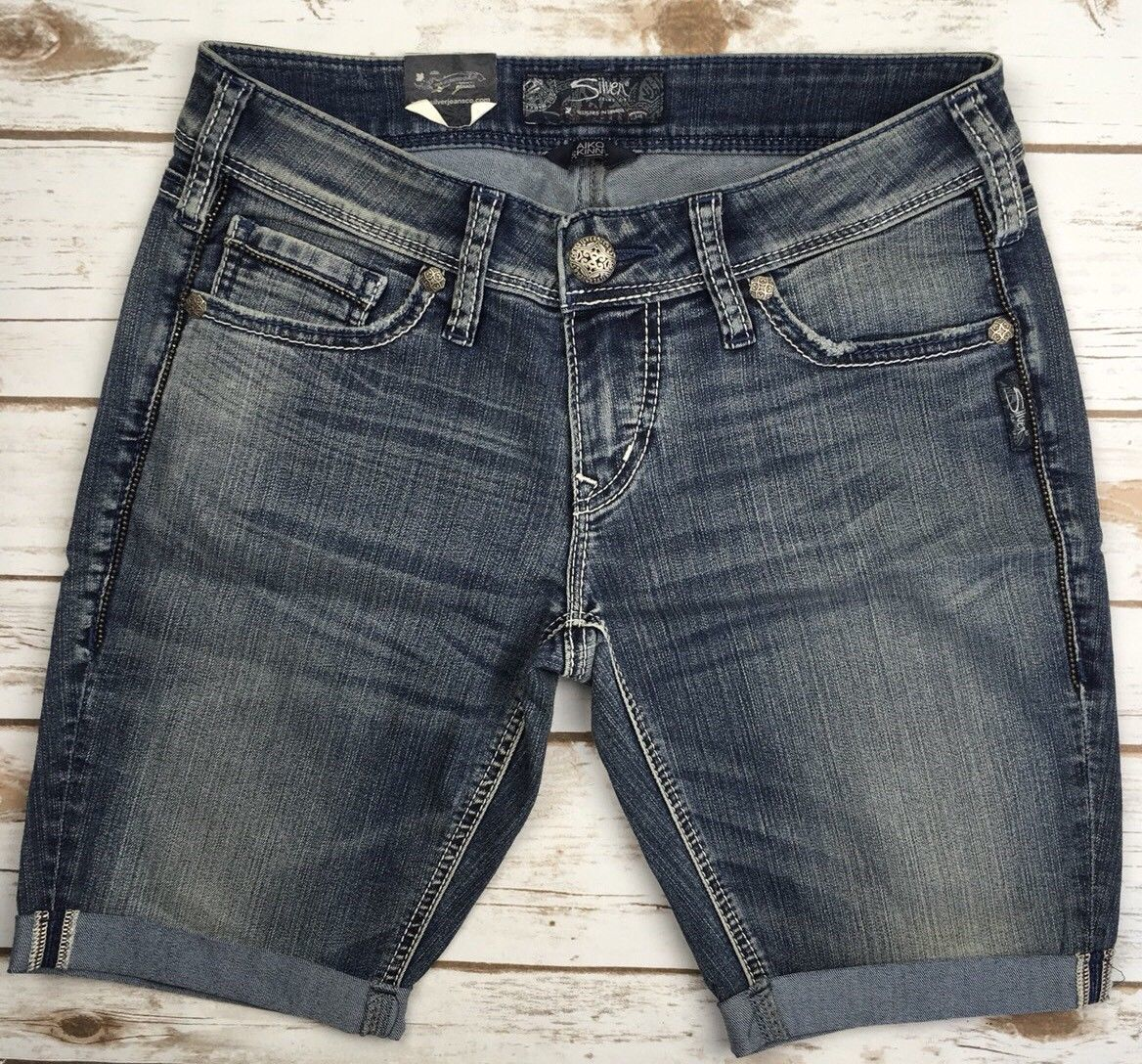 SILVER JEANS SHORTS Buckle Mid Rise Aiko Jean Light Denim Cuffed Short 28