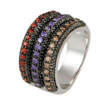 PAVE TRIPLE ROW STYLE MULTI-COLOR CUBIC ZIRCONIA FANCY BAND RING - $39.99