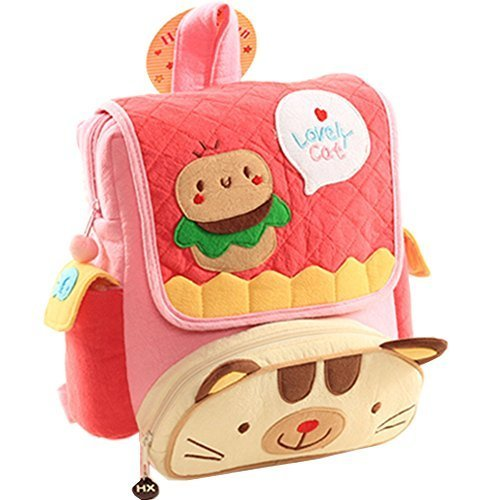 Infant Knapsack Baby Children Backpack Prevent from Getting Lost Red Cat