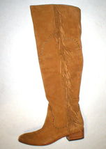 New $578 Womens 9.5 Frye Suede Leather Boots OTK Tall Knee Fringe Ray Camel Tan image 3