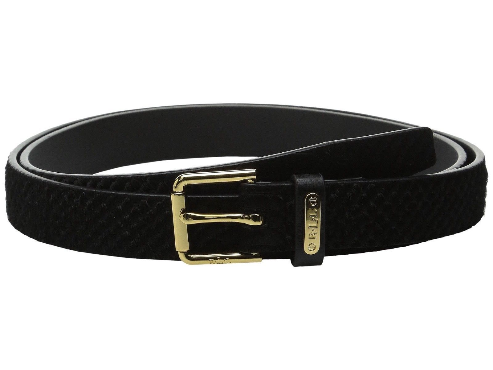 LAUREN Ralph Lauren Haircalf Belt w/ Side Bar Roller Buckle Black LARGE