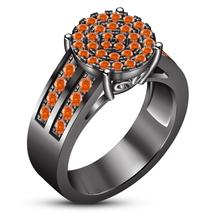 Round Cut Orange Sapphire Black Gold Plated 925 Silver Women's Engagemen... - $108.09 CAD
