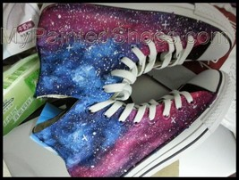 Galaxy Shoes Galaxy Chuck Taylor Shoes Hand Painted Shoes Free Shipping - $85.44