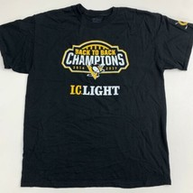 NFL Pittsburgh Penguins Tee T Shirt Mens L/G Black Short Sleeve Cotton B... - $17.99