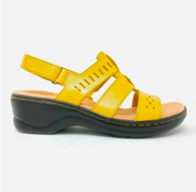 Clarks Lexi Collection Leather yellow sandals size 9.5XW wedge laser cut - $29.69