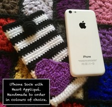 Handmade To Order - iPhone / Mobile Sock / Cover with Heart Appliqué  - $54.02