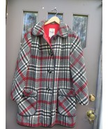 60s  COAT PENGUIN FASHIONS 60s womens  Red Black White plaid wool Rare,  - $60.50