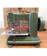 Vintage green betsy ross childs Miniature Hand Crank sewing Machine. w/box - $222.75
