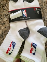 ICEBRANDS OFFICIAL NBA LOGO MEN'S HIGH 1/4 WHITE CREW SOCKS 6 PAIRS 6-12... - $15.99