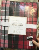 Pottery Barn Teen Classic Plaid Duvet Cover Queen Red Gray Flannel Decla... - $129.00