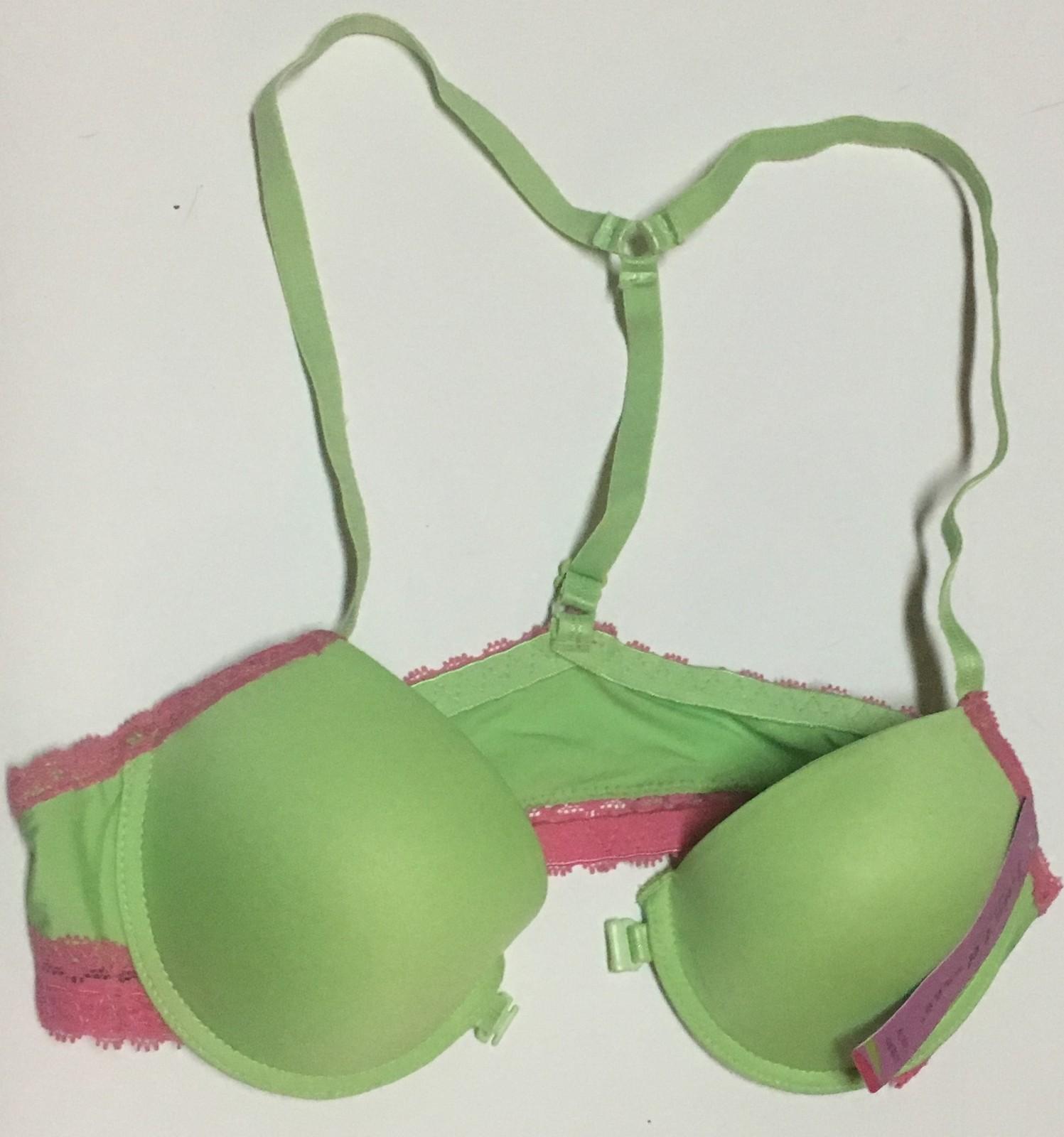 Lais L'd Bras Padded Lime Green w/Pink Lace Sz 34A