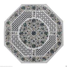 2'x2' Marble Side Coffee Table Top Rare Pauashell Gemstone Mosaic Hallwa... - $1,869.42