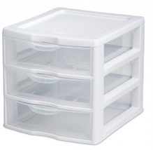 Plastic Storage Box 3 Drawer Unit Organizer Clear Container System Home ... - $12.86