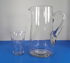 Vintage Glass Cut Six-Point Star Crystal Pitcher and 1 Tumbler - $38.56