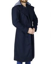 Mens Taboo Long Length Tom Hardy Fur Collar Delaney Wool Black Trench Coat image 2