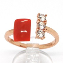 ANNEAU EN ARGENT 925, ROSE, TRILOGY, CORAIL ROUGE CABOCHON, MADE IN ITALY image 1