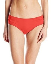 COCO REEF Bikini Bottom Sz S Cherry Red Solid Side Shirred Swimwear Swim... - $18.62