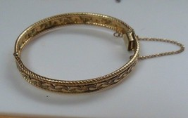 Vintage Signed B B 12K Gold Filled Hinged Bangle Bracelet - $48.51