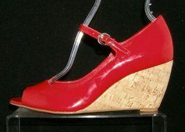 Franco Sarto 'Fashioni' red patent leather peep toe mary jane cork wedges 8M image 11