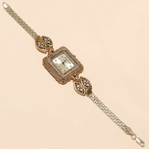 Natutral White Topaz Emerald Wrist Watch 925 Sterling Silver Two Tone Je... - $40.35