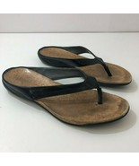 DKNY Black Faux Leather Thong Slides Womens US Size 8 - $48.46