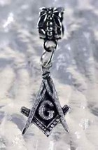 NICE freemason Masonic Sterling Silver jewelry bead Charm - $21.17