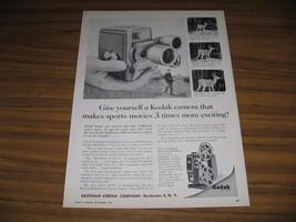 1957 Print Ad Kodak Medallion 8 Movie Cameras Hunter & Buck Deer with Antlers - $10.82