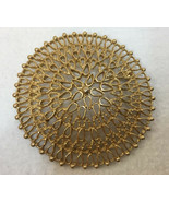 Brooch Pin Round Mandala Disc Filigree Gold Tone Metal Cut Out Dome Vint... - $9.89