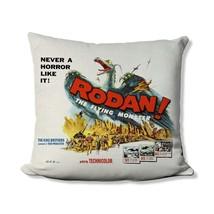 Retro Movie Throw Pillow - Vintage Rodan Movie Poster - Godzilla Movie M... - $18.99+