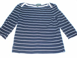 W14074 Womens RALPH LAUREN Navy Blue/White Striped BOATNECK SHIRT Petite... - $30.89