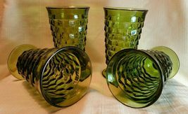 "Vintage Colony Whitehall Green Avocado Cube Design 6"" Iced Tea Glasses Set of 4 - $39.99"