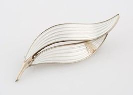 Aksel Holmsen White Enamel Leaf Brooch Sterling Silver Made in Norway Vi... - $118.80