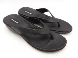 Okabashi Black Flip Flops Wedge Sandals Women's Size Medium Made in USA - $18.46