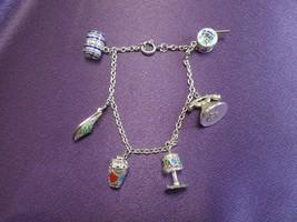Sterling Silver Trinket Charm Bracelet Made in Portugal-Phone Lamp Barre... - $66.83