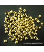 100 Chapado en Oro 4mm Rnd Cuentas Separadoras Lrg Agujero Es Compatible... - $1.76