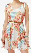 Studio City Junior Floral Print Belted Sheath Dress White 1 - $39.87 CAD